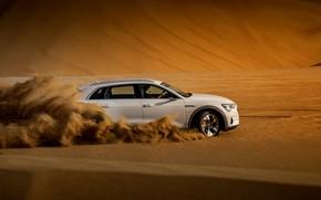 Picture sand, white, Audi, speed, E-Tron, 2019