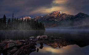 Picture forest, the sky, mountains, lake, stones, Jasper National Park, National Park, Perry Hoag