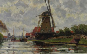 Picture landscape, Louis-Rodolphe Rodo Pissarro, Windmill near the Water, Ludovic Rodo Pissarro