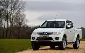 Picture white, grass, Mitsubishi, pickup, 2014, Barbarian, L200