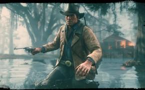 Picture hat, revolver, swamp, Rockstar, Bandit, Red Dead Redemption 2, Arthur Morgan
