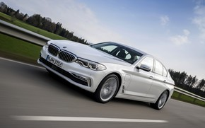 Picture road, field, white, BMW, the fence, sedan, hybrid, 5, four-door, 2017, 5-series, G30, 530e iPerformance