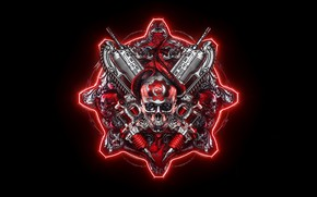 Picture skull, logo, logo, logo, Gears of War, video game, shooter