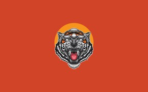 Picture Minimalism, Tiger, Style, Mouth, Background, Face, Predator, Art, Art, Tiger, Predator, Style, Background, Roar, Cyborg, …
