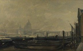 Picture picture, boats, the urban landscape, Charles-Francois Daubigny, Charles-François Daubigny, St. Paul's Cathedral from Surrey