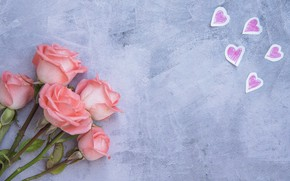 Picture love, flowers, roses, bouquet, hearts, love, pink, buds, pink, flowers, beautiful, romantic, hearts, roses