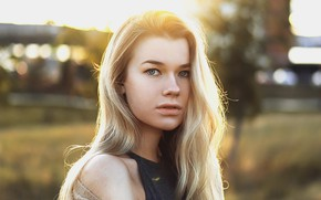 Picture girl, photo, blue eyes, model, bokeh, blonde, portrait, open mouth, tank top, looking at camera, …