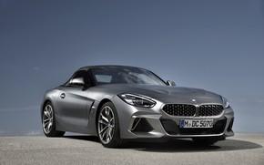 Picture the sky, grey, background, BMW, Roadster, BMW Z4, M40i, Z4, the soft top, 2019, G29