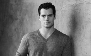 Wallpaper look, black and white, male, Henry Cavill