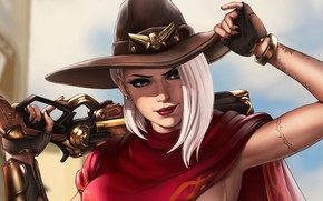 Picture girl, hat, art, Ashe, Overwatch, Ash, by Dandonfuga