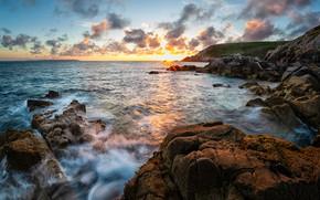 Picture sea, the sun, sunset, stones, rocks, shore, rocky