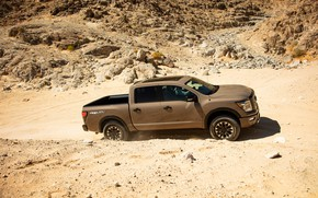 Picture sand, stones, Nissan, pickup, Titan, 2020, Pro-4X