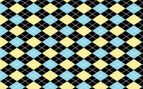 Picture line, background, Blue, background, Yellow, diamonds, Pattern