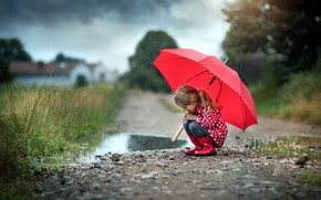 Picture road, nature, rain, umbrella, puddle, girl, bad weather, cloak, child, soposki, Radoslaw Dranikowski