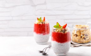 Picture berries, Breakfast, strawberry, pudding, Chia