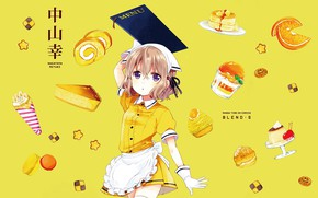Picture orange, sweets, gloves, the waitress, solitaire, yellow background, menu, cookies, apron, pudding, macaroni, roll, Blend …
