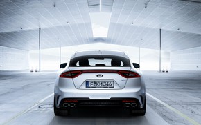 Picture white, rear view, Kia, the five-door, Stinger, Stinger GT, fastback