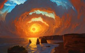 Picture Landscape, sky, sea, coast, sunset, art, clouds, birds, sun, digital art, artwork, cliff, painting art