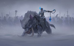 Picture winter, field, girl, beast, Sejuani, Legends of Runeterra