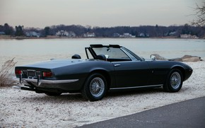 Picture black, Maserati, 1969, Roadster, spider, side, on the shore, Ghibli Spider