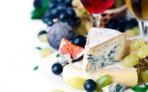 Picture wine, glass, cheese, grapes, figs