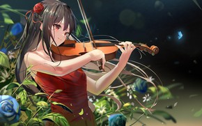 Picture girl, violin, roses