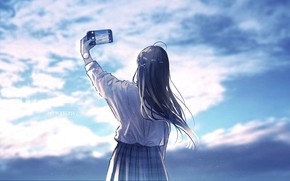 Picture GIRL, The SKY, CLOUDS, PHOTO, PHONE, СЕЛФИ