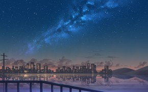 Picture sea, the sky, night, the city, the milky way