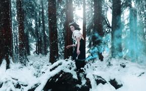 Picture winter, forest, girl, snow, style, makeup, dress, fantasy, image, Princess, photoart, Kindra Nikole