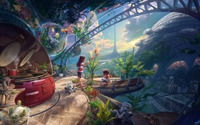 Picture children, house, 40 years in the future, environmental damage, Inner child