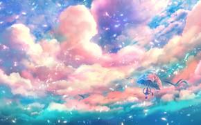 Picture the sky, girl, birds, umbrella, fantasy