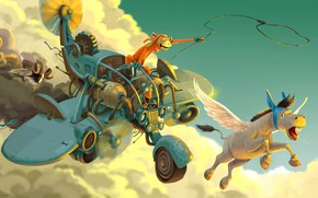 Picture clouds, monkey, flight, camera, Donky and Koontz