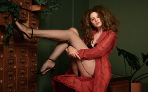 Picture look, girl, pose, hair, tights, legs, mesh, cloak, Disha Shemetova, Eugene Marklew, DISHA Shemetova