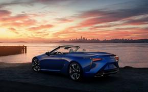 Picture sunset, shore, Lexus, convertible, 2021, LC 500 Convertible