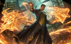 Picture fire, magic, dragons, MAG, guy, Merlin, Smite