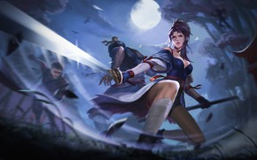 Picture look, girl, night, pose, weapons, the moon, anime, battle, art