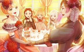 Picture the tea party, neckline, guy, necklace, fun, flower in hair, gloves elbow, at the table, …