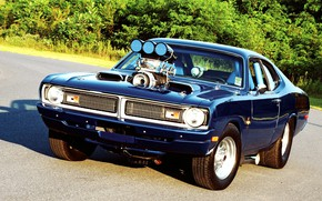 Picture Muscle, Dodge, Blue, Engine, Demon, Drag race, Dodge Demon, Custom classic car