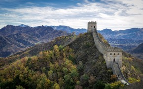 Picture China, sunny, Great Wall, Hebei, Jinshanling, windy and autumn day
