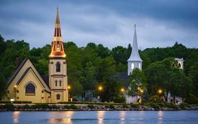 Picture landscape, the ocean, shore, lighting, Canada, lights, province, Church, Nova Scotia