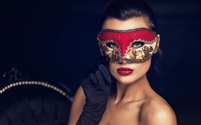 Picture look, pose, background, model, hand, portrait, makeup, brunette, mask, hairstyle, glove, bokeh, bare shoulders, covering …