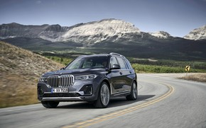 Picture asphalt, mountains, BMW, 2018, crossover, SUV, 2019, BMW X7, X7, G07