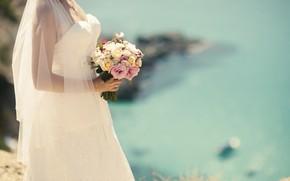 Picture girl, bouquet, dress, the bride
