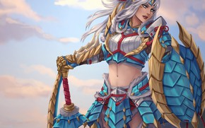 Picture girl, sword, shield, art, monster hunter, zinogre armor