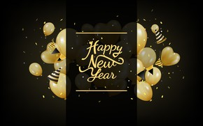 Picture background, holiday, balls, black, new year, new year, decoration, Happy, Celebration