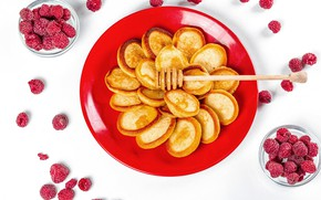Picture berries, raspberry, honey, pancakes, pancakes, pancake
