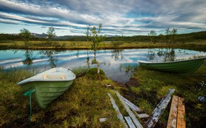 Picture greens, forest, summer, the sky, grass, clouds, trees, lake, reflection, river, shore, Board, two, boats, …