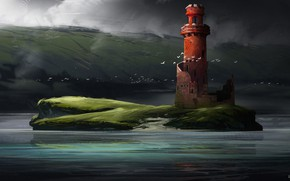 Picture Figure, Island, Lighthouse, Fantasy, Art, Conceptart, Illustration, Environments, Rodolphe Calcine, by Rodolphe Calcine, red island