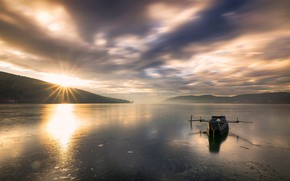 Picture the sky, the sun, clouds, rays, light, mountains, clouds, fog, lake, glare, reflection, dawn, hills, …