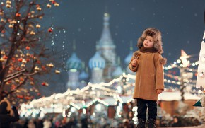 Picture winter, lights, tree, hat, boy, Cathedral, temple, coat, child, dome, fair, Anna Ipatiev